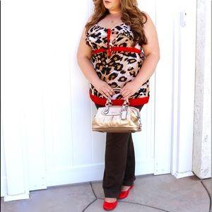 Leopard blouse orange brown Nicole miller XL